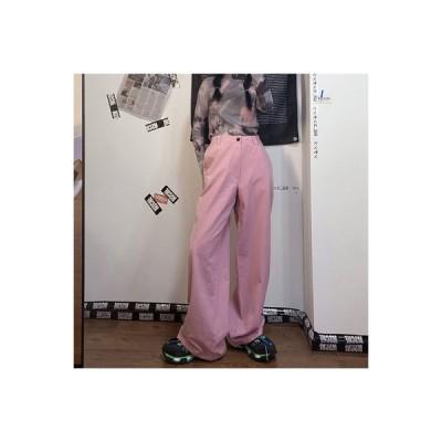 【送料無料】パンツ 女 秋 韓国風 ハイウエスト 着やせ 何でも似合う レジャー ストレート ワイド | 346770_A63800-1519086