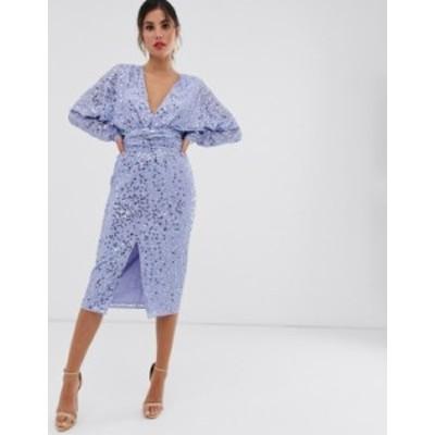 エイソス レディース ワンピース トップス ASOS DESIGN midi dress with batwing sleeve and wrap waist in scatter sequin Blue