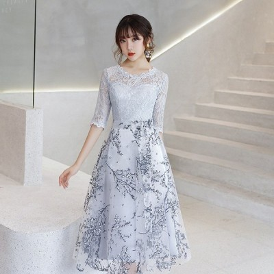 パーティードレス 結婚式 お呼ばれドレス レディース ワンピース ミドルドレス ウェディングドレス 同窓会 二次会 演奏会ドレス 韓国風 可愛い 披露宴 上品
