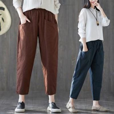パンツ ベイカーパンツ ウエストゴム ブラウン ネイビー ブラック 大きいサイズ カジュアル シンプル