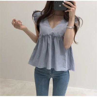 幅広い年代にもおすすめな1枚となっています!!韓国ファッション 夏日 通勤OL 高級感 トップス フリル袖なし  シャツ 可愛い ブラウス