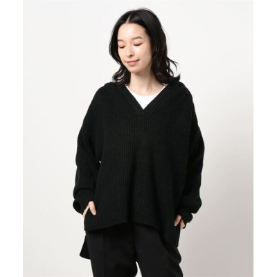 Te chichi / 片畔ニットパーカー WOMEN トップス > パーカー
