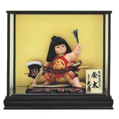 五月人形 久月 金太郎 ケース飾り 浮世人形 熊倉聖祥原作 裸金太 鉞(着付) 8号 賢印8 h035-k-kenin8-702 D-74