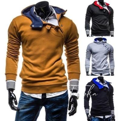 プルオーバーパーカー 大人用 メンズ トップス 長袖 青 赤 フード付き おしゃれ 上品 大人男子 防寒 秋服