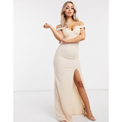 アックスパリス ミディドレス レディース AX Paris bardot maxi dress with split in light pink  エイソス ASOS sale ピンク