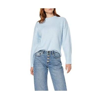 Amazonブランド。 レディース ドロップショルダー チャンキーステッチ オーバーサイズ セーター, ブルー(ブルー), EU XXXL (US 1