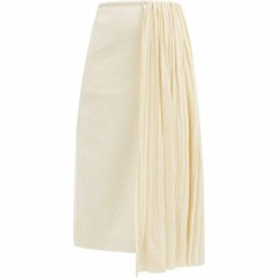ジル サンダー Jil Sander レディース ひざ丈スカート スカート Draped plisse-panel cotton-blend skirt Ivory
