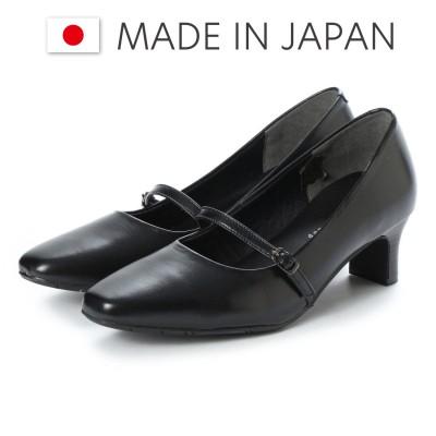 ドンナリスペット donna rispetto 日本製/5cmヒール本革ストラップパンプス (BLACK)