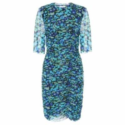 ガニー Ganni レディース ワンピース ワンピース・ドレス Floral mesh minidress Azure Blue