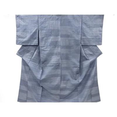 リサイクル 横段模様織り出し手織り節紬単衣着物