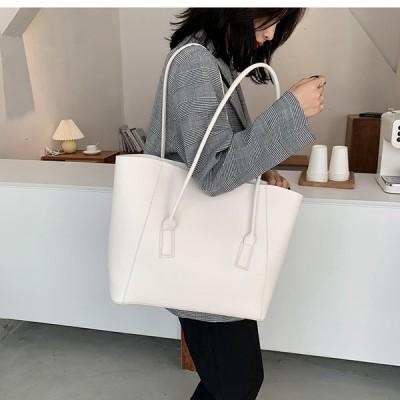 トートバッグ 大容量 通勤 通学 肩掛け シンプル 合成皮革 PU きれいめ カジュアル 大人可愛い 韓国ファッション