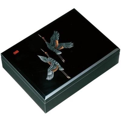 木製 合口文庫 黒 万葉鶴 30cm (書類入れ、書類整理)