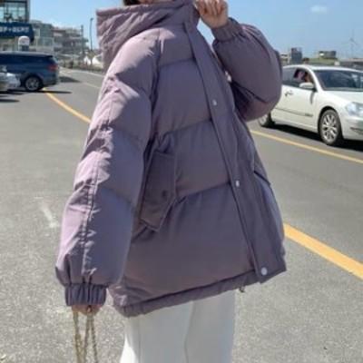 【最大2000円offクーポン】フード付き ダウンジャケット もこもこ ロング丈 無地 トレンド ゆったり 軽い 大人可愛い かわいい ナチュラ