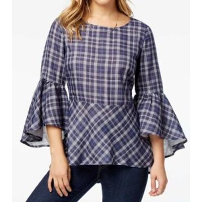 bell ベル ファッション トップス Kensie NEW Blue Plaid Peplum Womens XL Ruffled Bell Sleeve Blouse Top