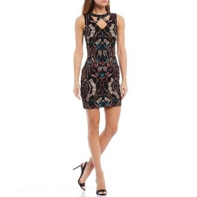 ゲス レディース ワンピース トップス Cutaway Neck Printed Lace Sleeveless Bodycon Dress