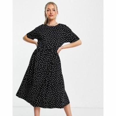 エイソス ASOS DESIGN レディース ワンピース ミドル丈 ワンピース・ドレス oversized midi smock dress in mono spot モノスポット