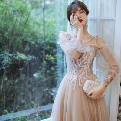 秋冬新品 カラードレス 安い イブニングドレス 二次会 演奏会 袖あり 結婚式 エンパイア フォーマルドレス ウエディングドレス ロングド
