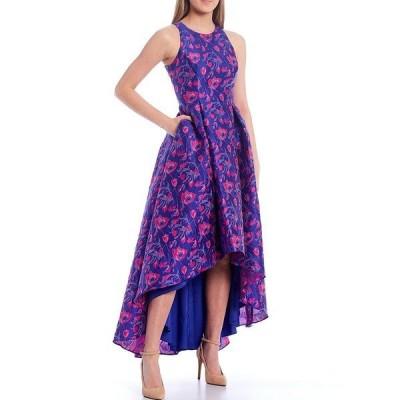 エイダン?エイダン?マトックス レディース ワンピース トップス Hi-Low Floral Jacquard Midi Dress Pink/Royal/Sapphire