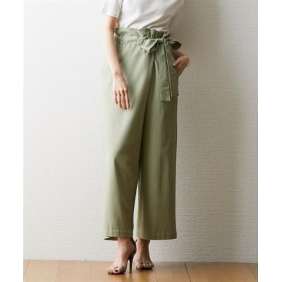 ゆったりワイド◎リネンブレンドリボンラップパンツ (レディースパンツ)Pants