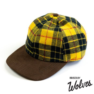 【RAISED BY WOLVES/レイズドバイウルブス】PLAID HUNTING CAP スナップバックキャップ / GOLD PLAID FLANNEL(ONE SIZE)