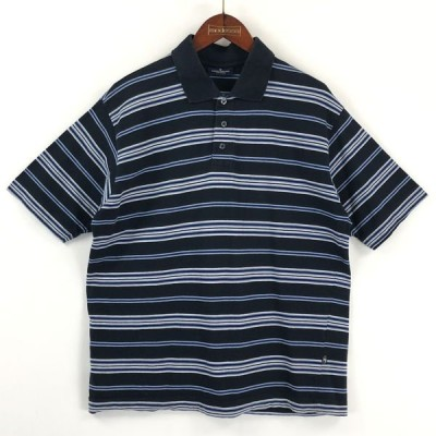 古着 TOM TAILOR ボーダーポロシャツ スムース素材 半袖 ネイビー系 メンズL 中古 n025151