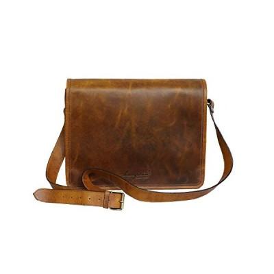 Brandslock Unisex Genuine Leather Laptop Messenger Shoulder Bag Multi-Functional Style (Tan) 並行輸入品
