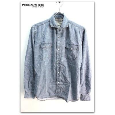POGGIANTI1958 襟裏・袖口裏別柄 プリントチェック柄 スナップボタン 長袖 シャツ ブルー