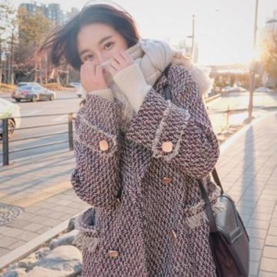 ツイード コート テーラード ロング丈 フリンジ レディース アウター コート 韓国ファッション 秋 冬 大きいサイズ