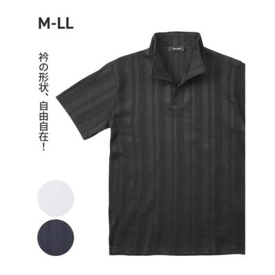 ポロシャツ メンズ ブライト ランダムテレコ スタンドカラー 半袖 衿ワイヤー M/L/LL ニッセン nissen