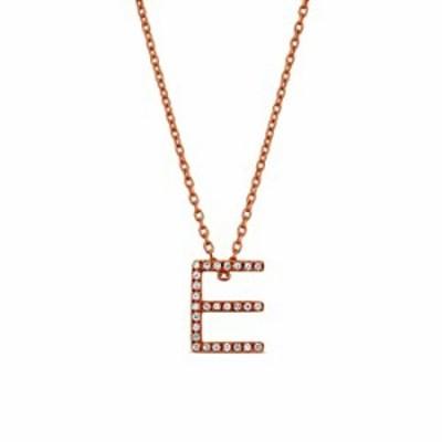 ネックレス Social Value 14Kソリッドローズゴールド天然ダイヤモンド「E」イニシャル文字ペンダントネックレス