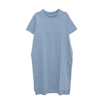 大きいサイズ 綿100%スリットゆるTシャツワンピース ,スマイルランド, ワンピース, plus size dress