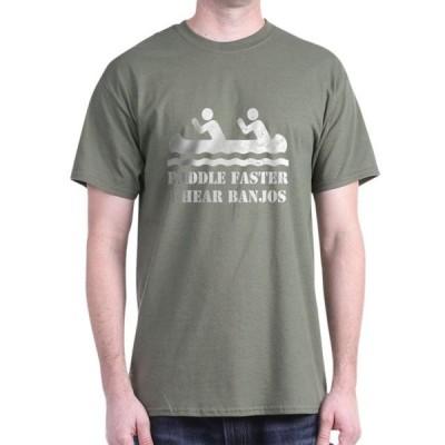 ユニセックス 衣類 トップス CafePress - Paddle Faster I Hear Banjos Dark T Shirt - 100% Cotton T-Shirt ブラウス&シャツ