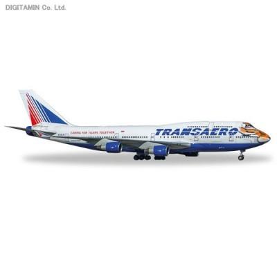 """ヘルパ 1/500 ボーイング 747-400 トランスアエロ航空 """"Amur Tiger""""EI-XLN 完成品 529464(ZM21044)"""