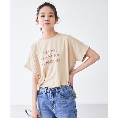 abahouse mavie/アバハウス マヴィ 【追加新色】ecru ワイドロゴTシャツ ベージュ F