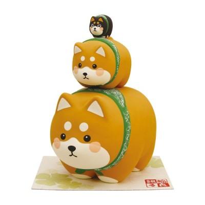 福良(ふっくら)親子3段つみ 敷物付 柴犬 なごみ 和雑貨 可愛い 置物 手作り 京都