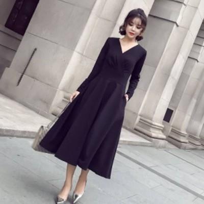 パーティードレス ワンピース ドレス 袖あり 大きいサイズ カシュクール ミモレ丈 ロング 黒 10代 20代 30代 40代 50代 長袖 ブラックド