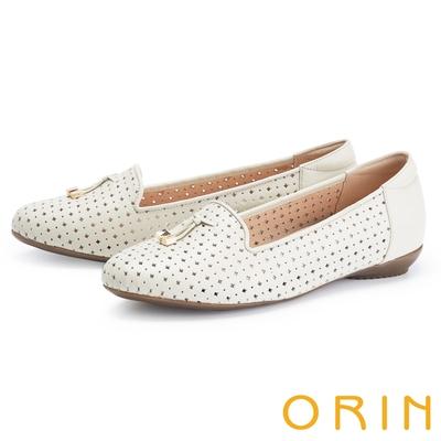 ORIN 造型簍空真皮樂福 女 平底鞋 白色