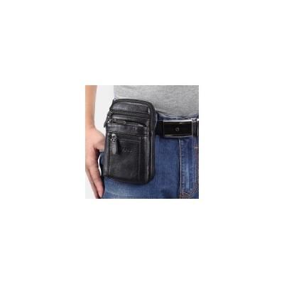 [L,Brown]男性本革レトロ多機能ベルトバッグクロスボディバッグカジュアル大容量イージーキャリーウエストバッグ