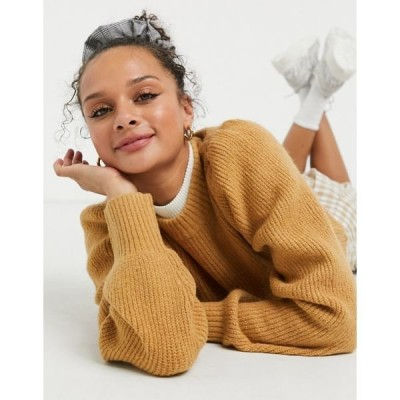 モンキ レディース ニット&セーター アウター Monki Qamelia knitted sweater with volume sleeve in beige Beige