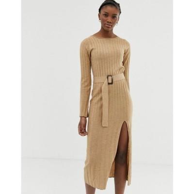 エイソス ASOS DESIGN レディース ワンピース ワンピース・ドレス belted knit midi dress with split Camel