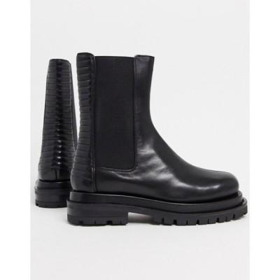 エイソス レディース ブーツ・レインブーツ シューズ ASOS DESIGN Antarctic premium leather pannellled chelsea boots in black