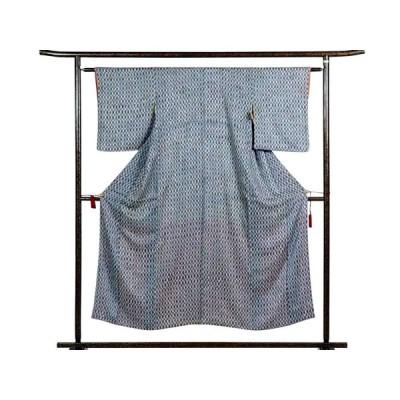 リサイクル着物 小紋 正絹ブルー地立涌柄袷小紋着物
