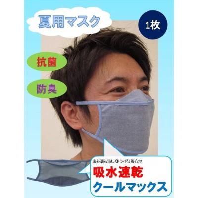 【即出荷可】クールマスク・フィット 国産 夏用マスク 接触冷感 クールマックス 抗菌加工 臭いにくい 水色 吸水速乾 おしゃれ かっこいい