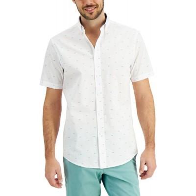 クラブルーム Club Room メンズ 半袖シャツ トップス Justin Seagul Print Short Sleeve Shirt White Combo