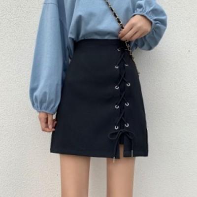 ミニスカート クロススカート カジュアル 大人可愛い シンプル 着まわし デート お出かけ ハイウエスト 台形