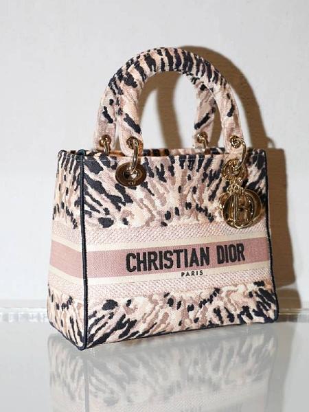 ■專櫃88折■ 全新真品■Dior 中款 多色 Tie & Dior 刺繡Lady D-Lite 2用包 淡金色五金