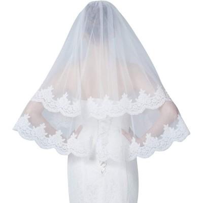 花嫁ベール-ウェディング-金属製コーム付き-レースエッジ-大柄フラワー