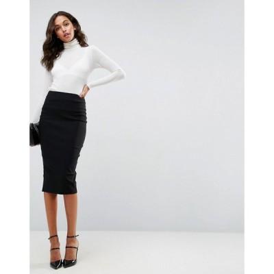 エイソス ASOS DESIGN レディース ひざ丈スカート タイトスカート スカート high waist longerline pencil skirt ブラック