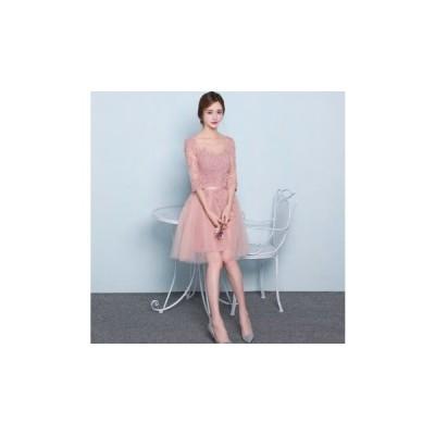 パーティードレス 膝丈スカート フレアスカート 袖あり透け感レース シンプル セクシー 大人 レディース ワンピース 結婚式 二次会 お呼ばれドレス kh-0164