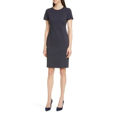 ボス レディース ワンピース トップス Dijersa Herringbone Texture Sheath Dress MIDNIGHT